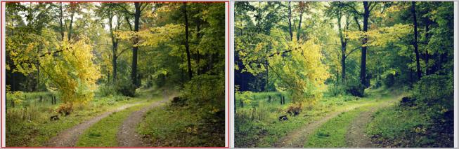 Left: original. Right: the result after digital cross processing