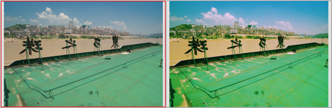 Left: the original. Right: the output from digital cross processing.