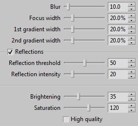 The default settings for the Tilt-shift effect.