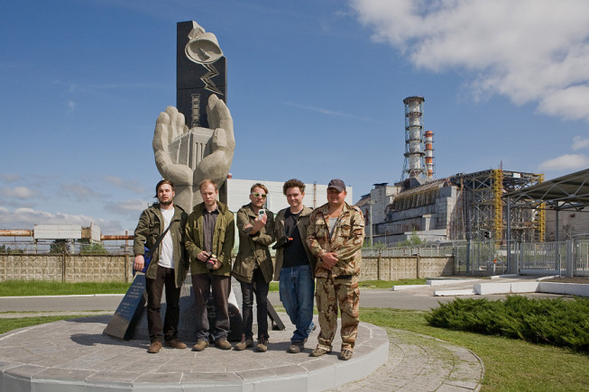 Our documentary team standing outside the site.