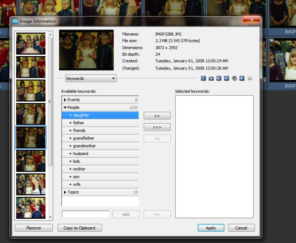 Use Photo Studio to add keywords to all your images. That will make them easier to find in the future.