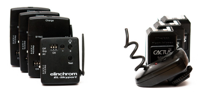 """The """"simple"""" Elinchrom Skyport and Cactus V2 triggers. Both triggers are shown from in front, with the receivers behind them. Photo: Vít Kovalčík"""