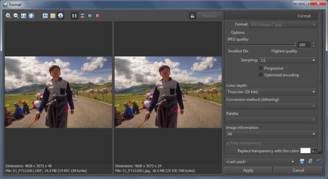Saving to the JPEG format.